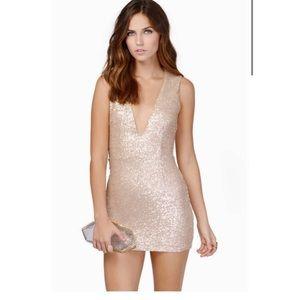 TOBI Champagne sequin dress